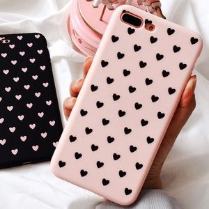 ROSE PINK  HEARTS IPHONE 7 8 X XS PLUS CASE